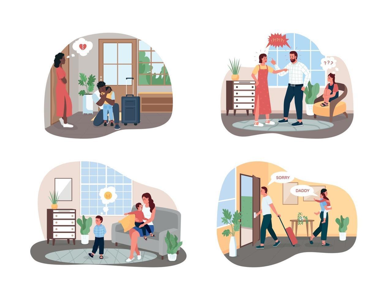 conflicto familiar 2d vector web banner, conjunto de carteles