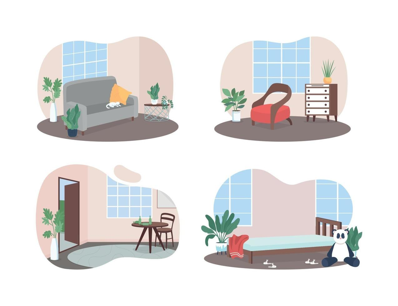 Family rooms interior 2D vector web banner, poster set
