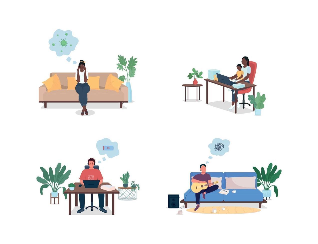 hombres y mujeres estresados en casa vector de color plano sin rostro y conjunto de caracteres detallados