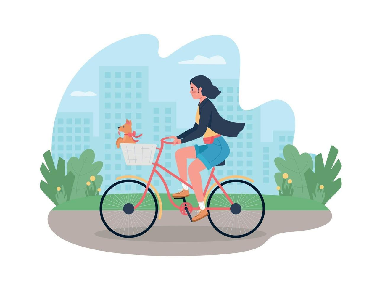 Woman on bicycle with dog in basket 2D vector web banner, poster