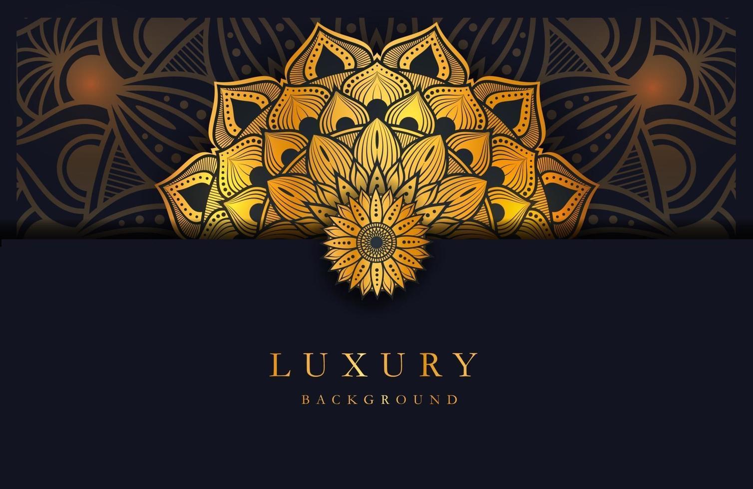 Luxury background with gold islamic arabesque mandala ornament on dark surface vector
