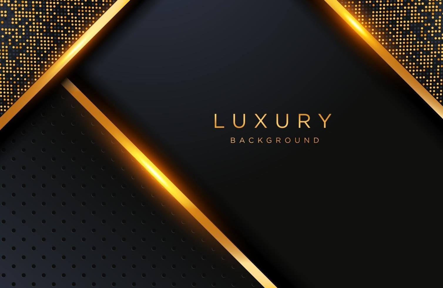 Abstract realistic luxury decoration textured with golden dots pattern. 3d backdrop, wedding Invitation design cover layout template with copy space. vector