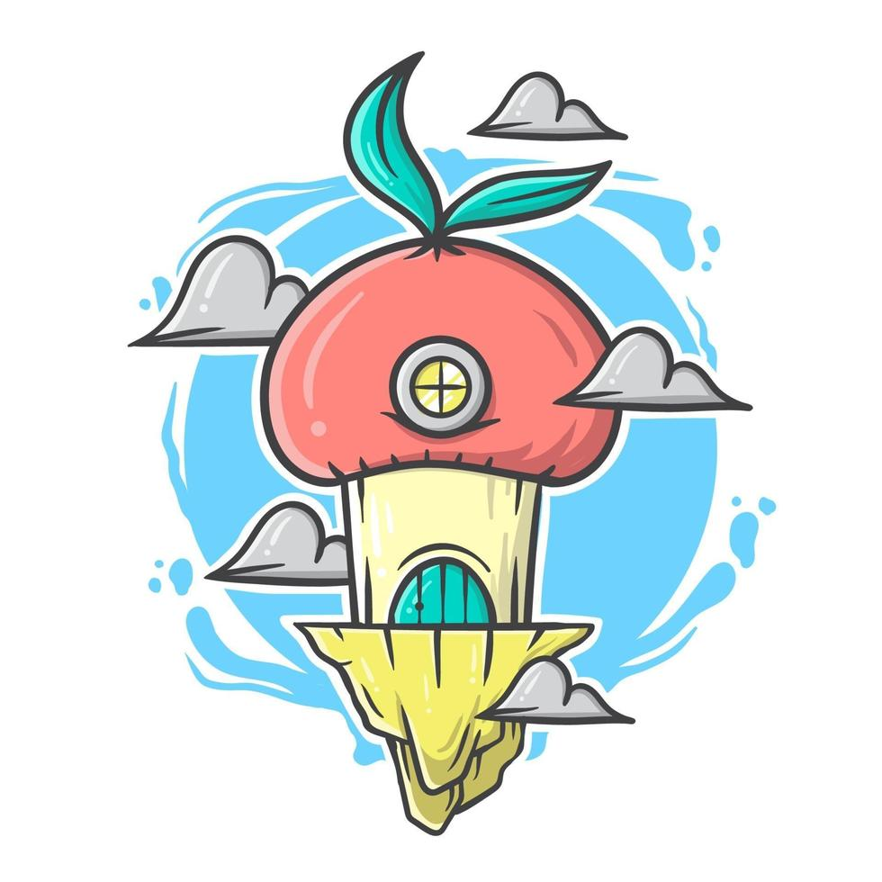 Cute red mushroom and clouds cartoon house with pastel color vector illustration