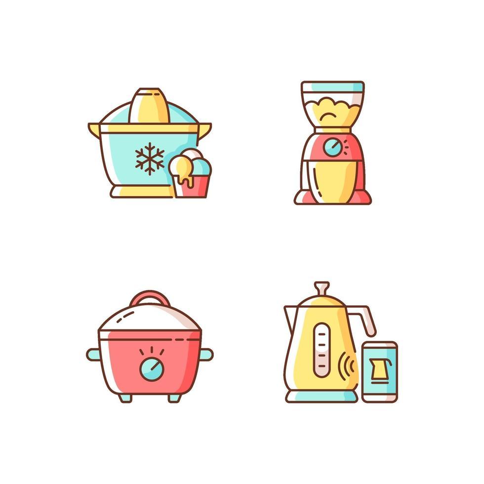 Electric appliances RGB color icons set vector