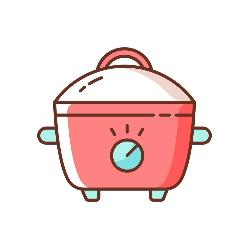 Slow cooker RGB color icon vector