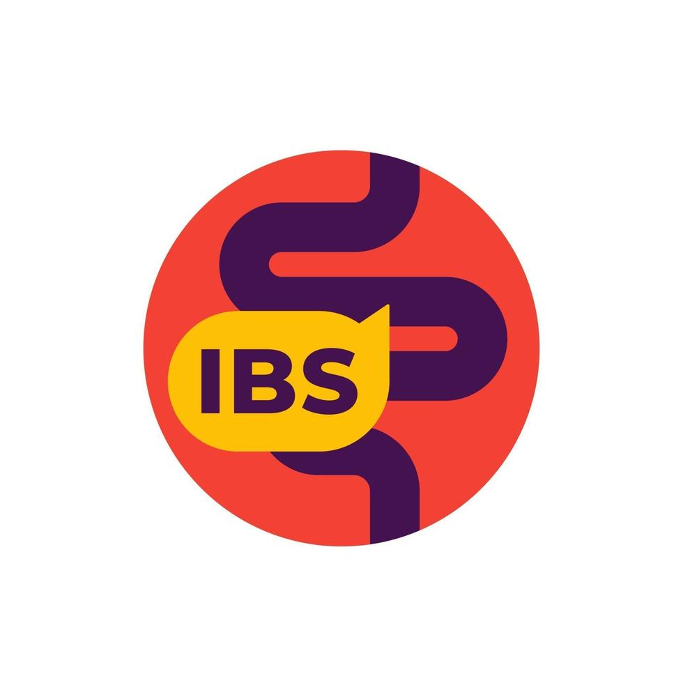 IBS icon, irritable bowel syndrome, flat vector