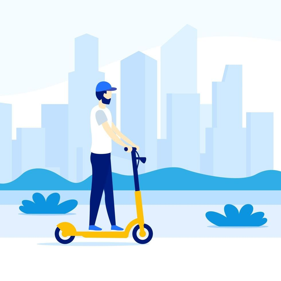 man riding electric kick scooter in the city, vector