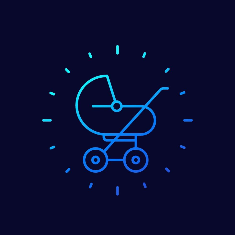 baby stroller icon, linear vector