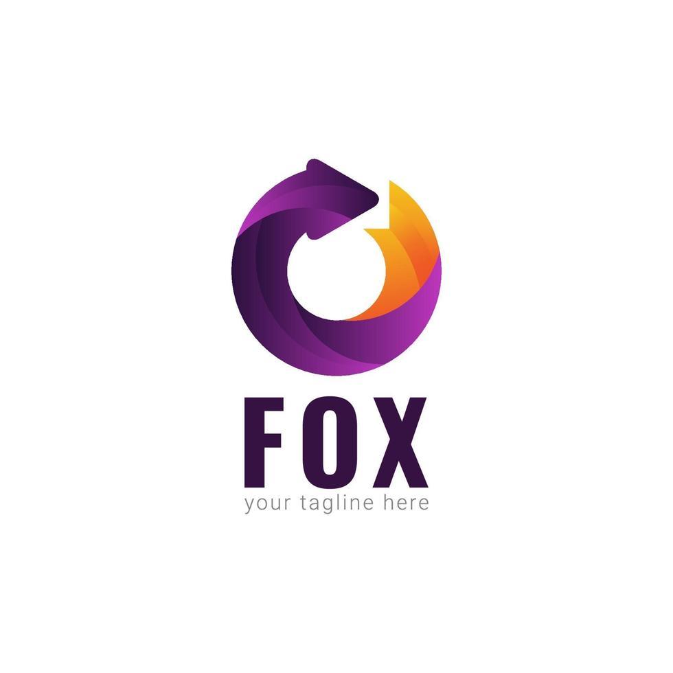 Fox Logo Gradient Vector Template Design Illustration