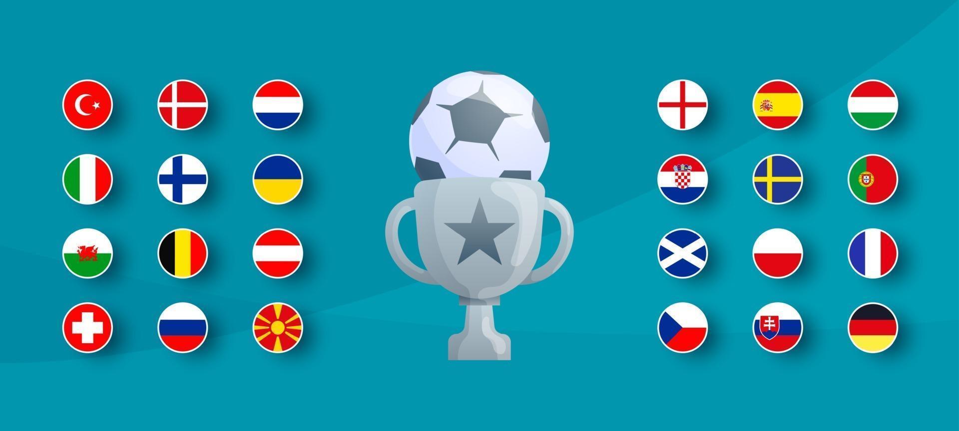 European football 2020 tournament flag set. Vector country flag set for soccer championship.