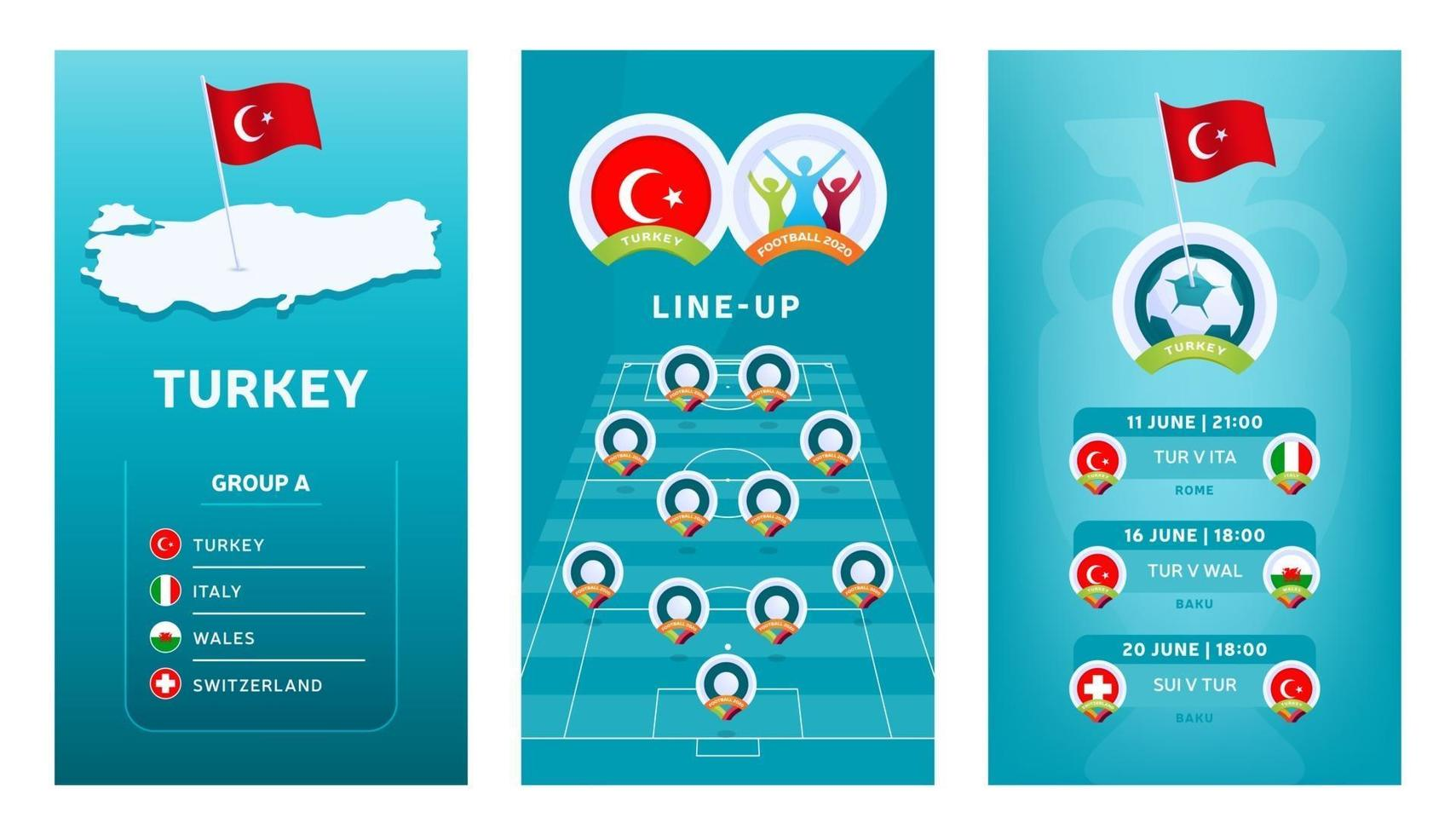 European 2020 football vertical banner set for social media. Turkey group A banner with isometric map, pin flag, match schedule and line-up on soccer field vector