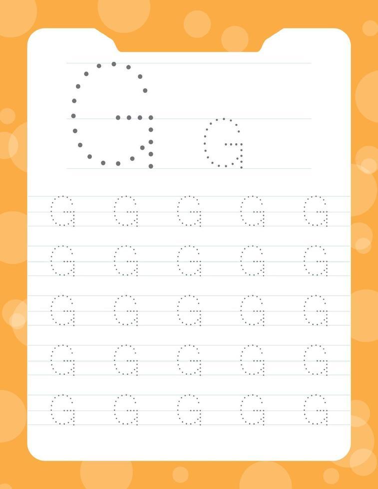 hojas de trabajo del alfabeto de trazado de la letra g vector