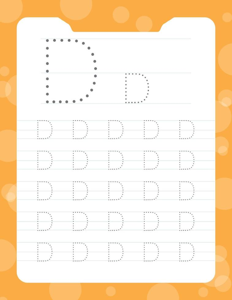 Letter D Tracing Alphabet Worksheets 2153455 Vector Art At Vecteezy