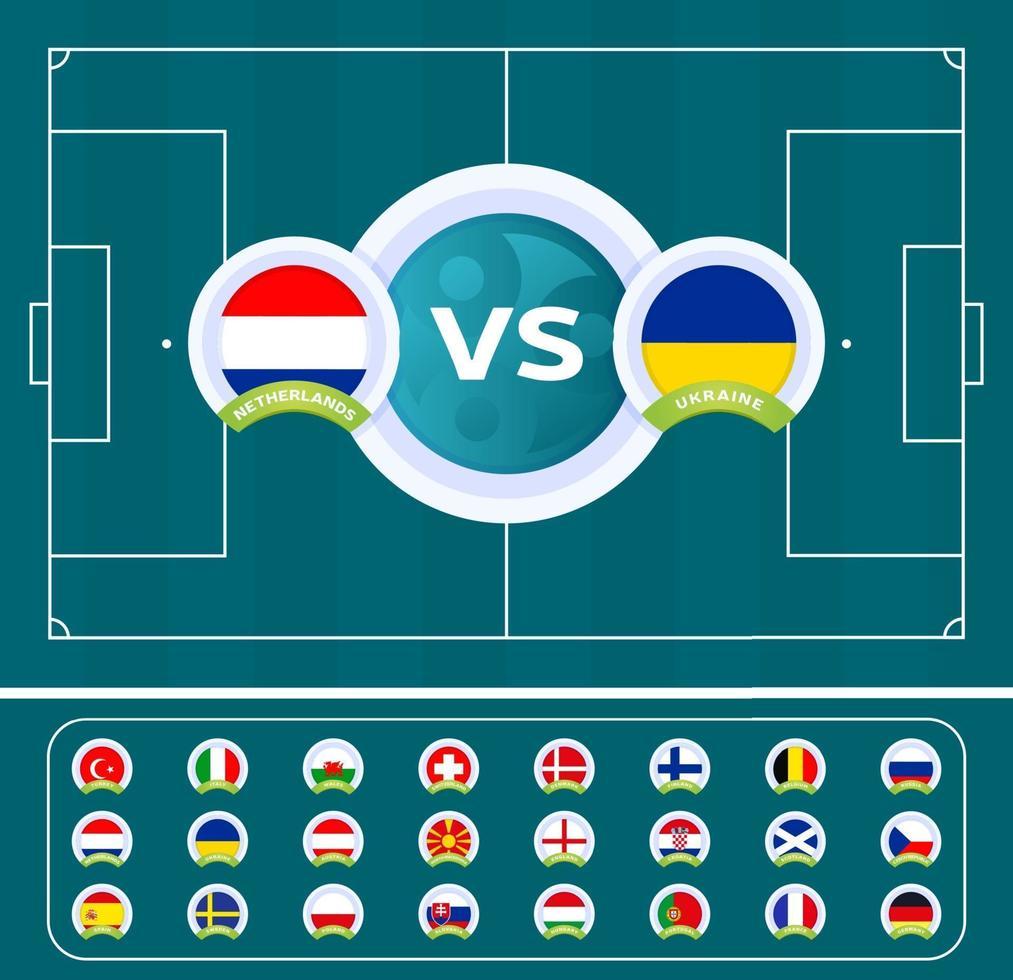 football 2020 versus national team vector