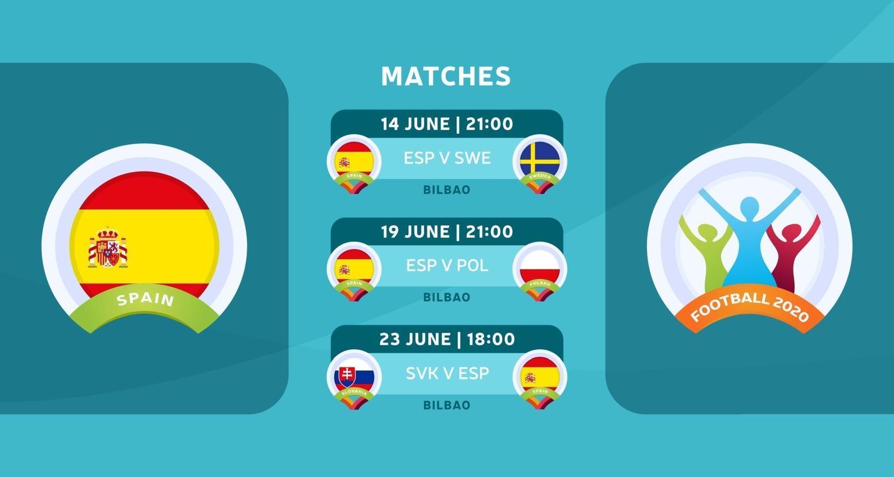españa partidos fútbol 2020 vector