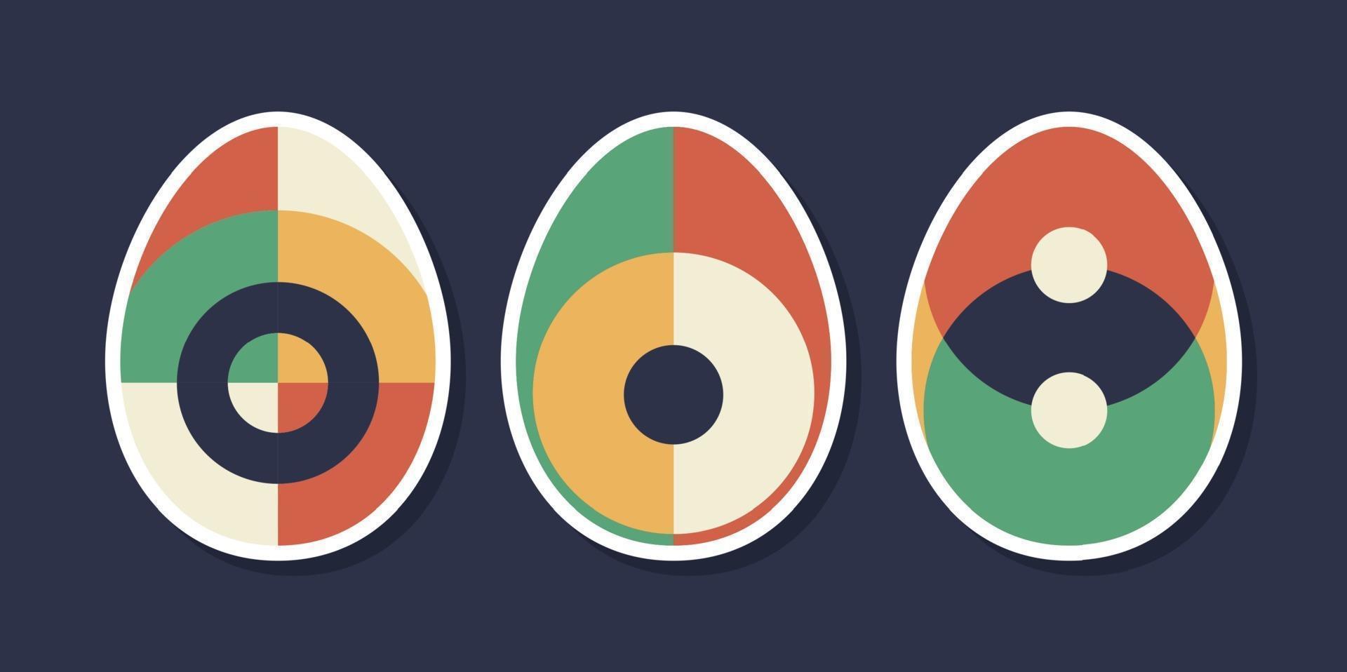 conjunto de huevo de pascua geométrico minimalista con elementos de forma geométrica. Ilustración de vector de plantillas abstractas de moda creativas contemporáneas modernas.