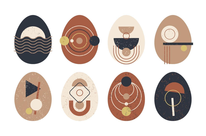 conjunto de huevo de pascua geométrico minimalista con elementos de forma geométrica. Ilustración de vector de plantillas abstractas modernas creativas contemporáneas boho moderno.