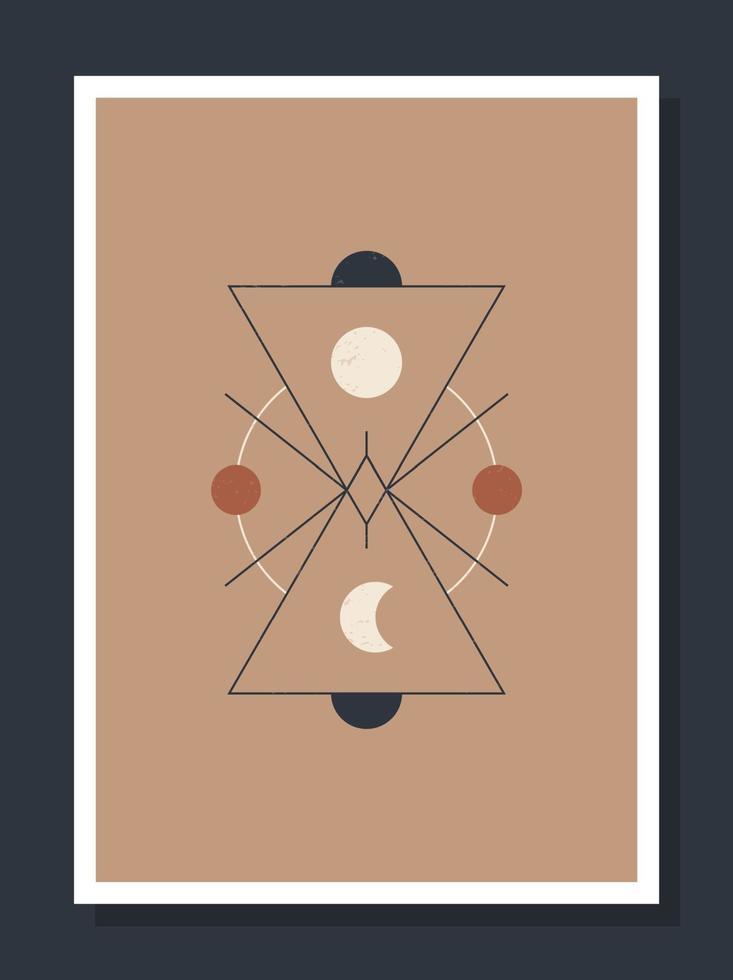 cartel minimalista con cuerpos celestes. cartel en un estilo boho moderno. la luna y las estrellas. vector tarjetas de ilustración mística.