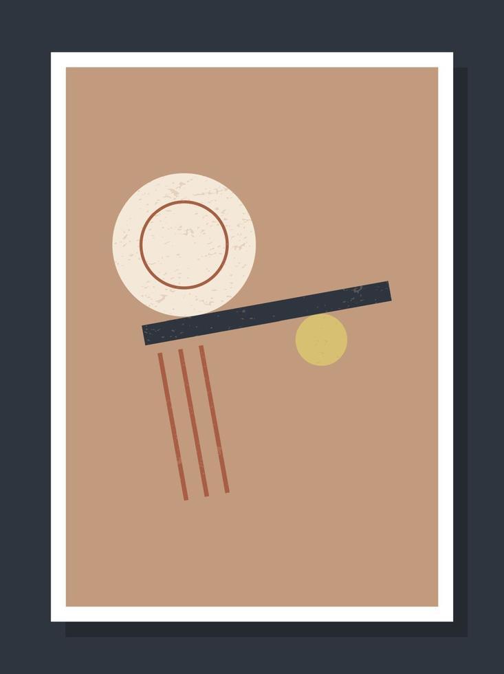 Póster de pared de arte vectorial geométrico minimalista. minimal 20s geométricas abstractas contemporáneas carteles vector plantilla boho formas primitivas elementos ideales para decoración de paredes estilo moderno hipster