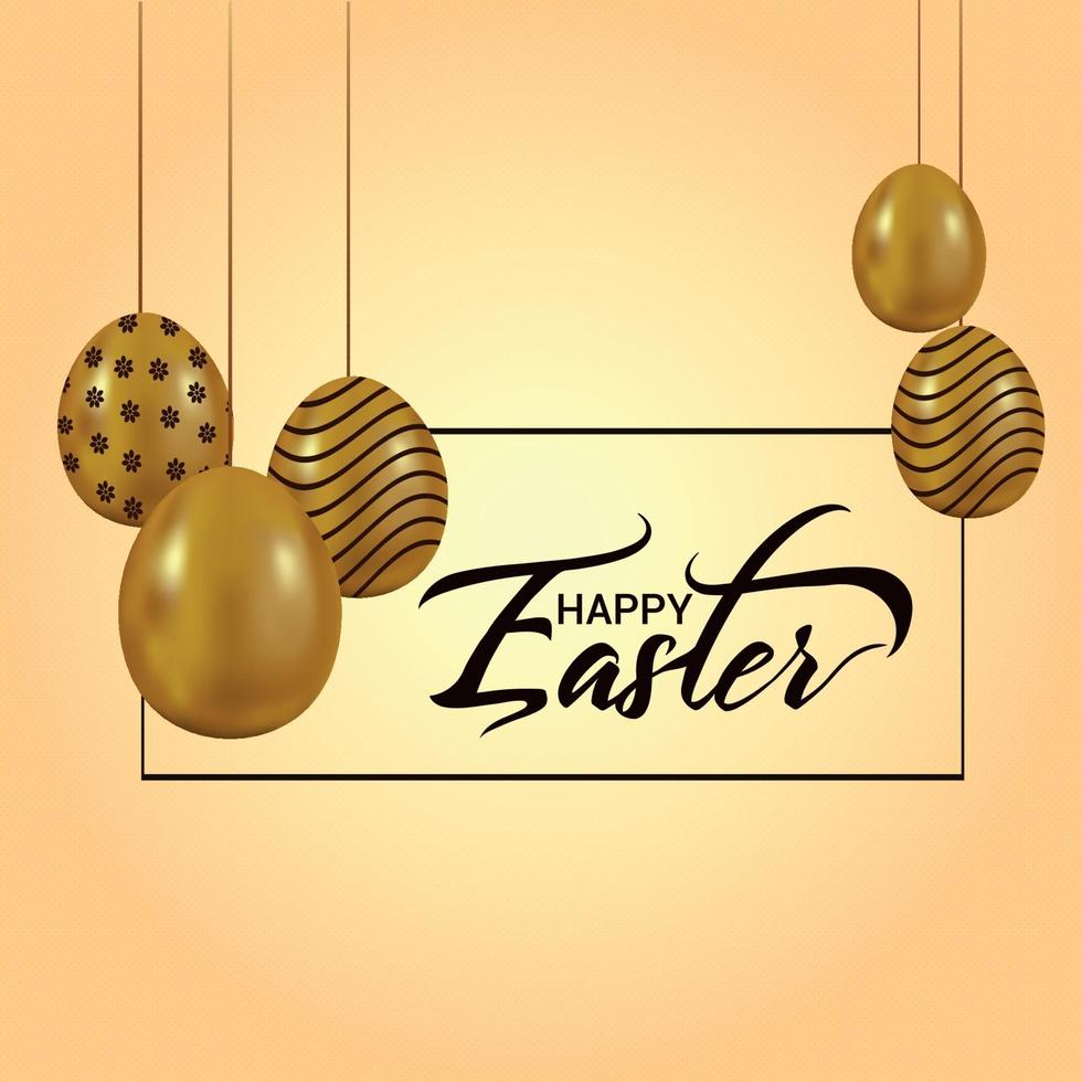 Happy easter greeting card with golden bunny vector