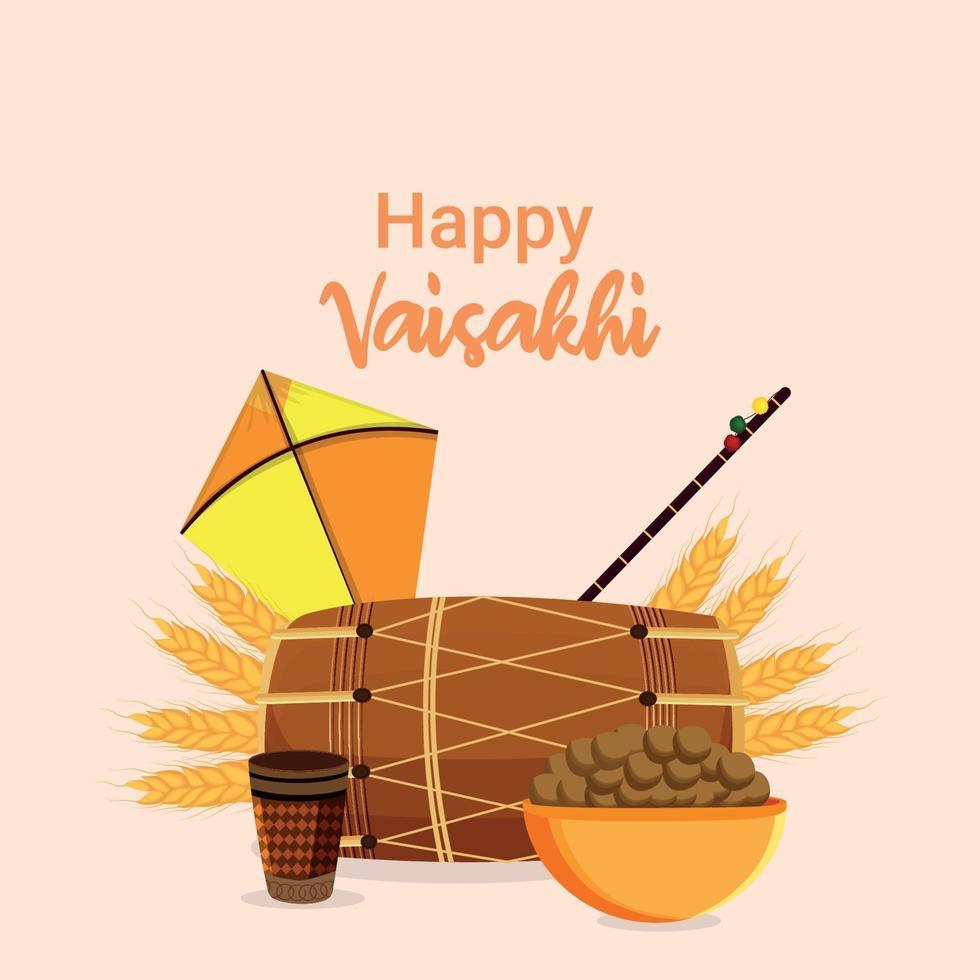 Happy vaisakhi flat design greeting card vector