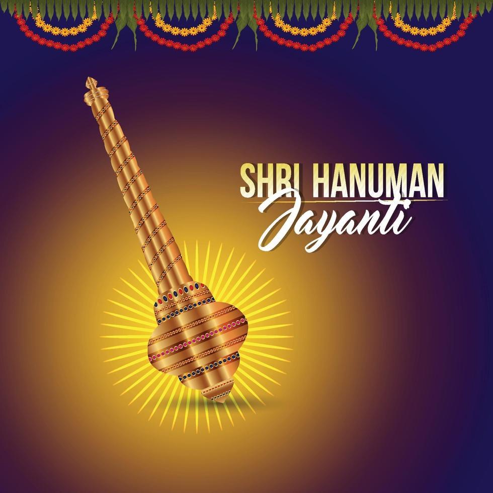 ilustración creativa del arma de lord hanuman para happy hanuman jayanti vector