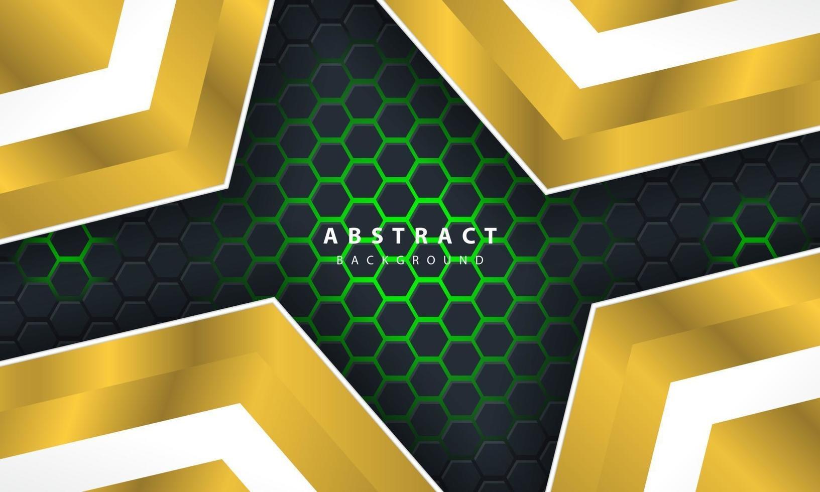 Fondo hexagonal de luz verde abstracto 3D con formas de marco dorado y blanco. vector