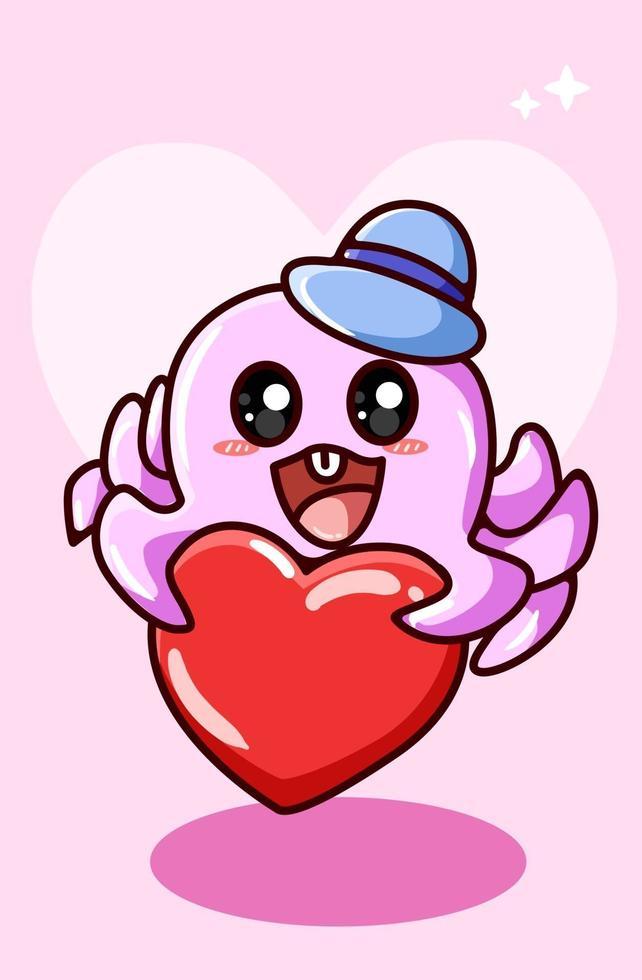 El pulpo feliz y kawaii trae corazón, ilustración de dibujos animados del día de San Valentín vector
