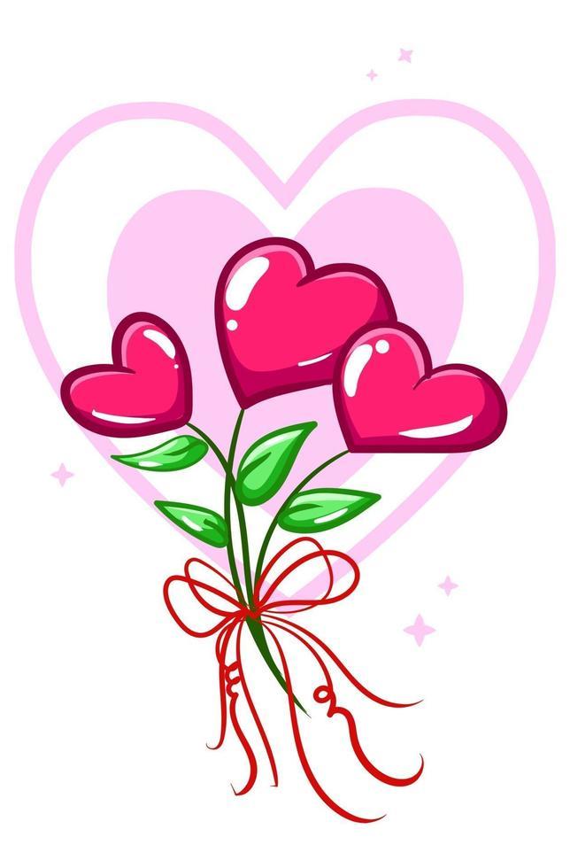 ilustración de dibujos animados de planta de flor de corazones vector