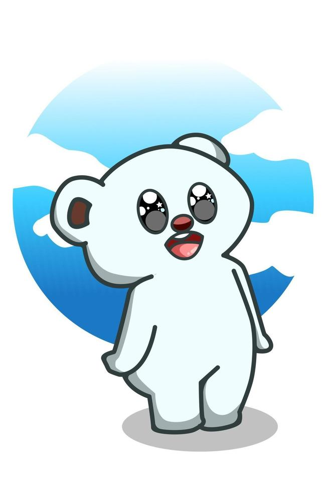 una linda ilustración de dibujos animados de oso polar vector