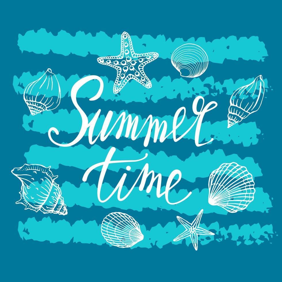 conchas marinas, verano, vacaciones, conjunto de conchas y estrellas de mar, vector. dibujados a mano conchas de mar y estrellas de mar. hermosa inscripción en caligrafía moderna. vector