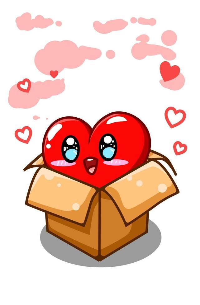 un gran corazón lindo y divertido en la ilustración de dibujos animados de caja vector