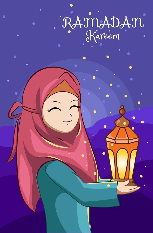 hermosa chica con linterna en la noche ramadan kareem ilustración de dibujos animados vector