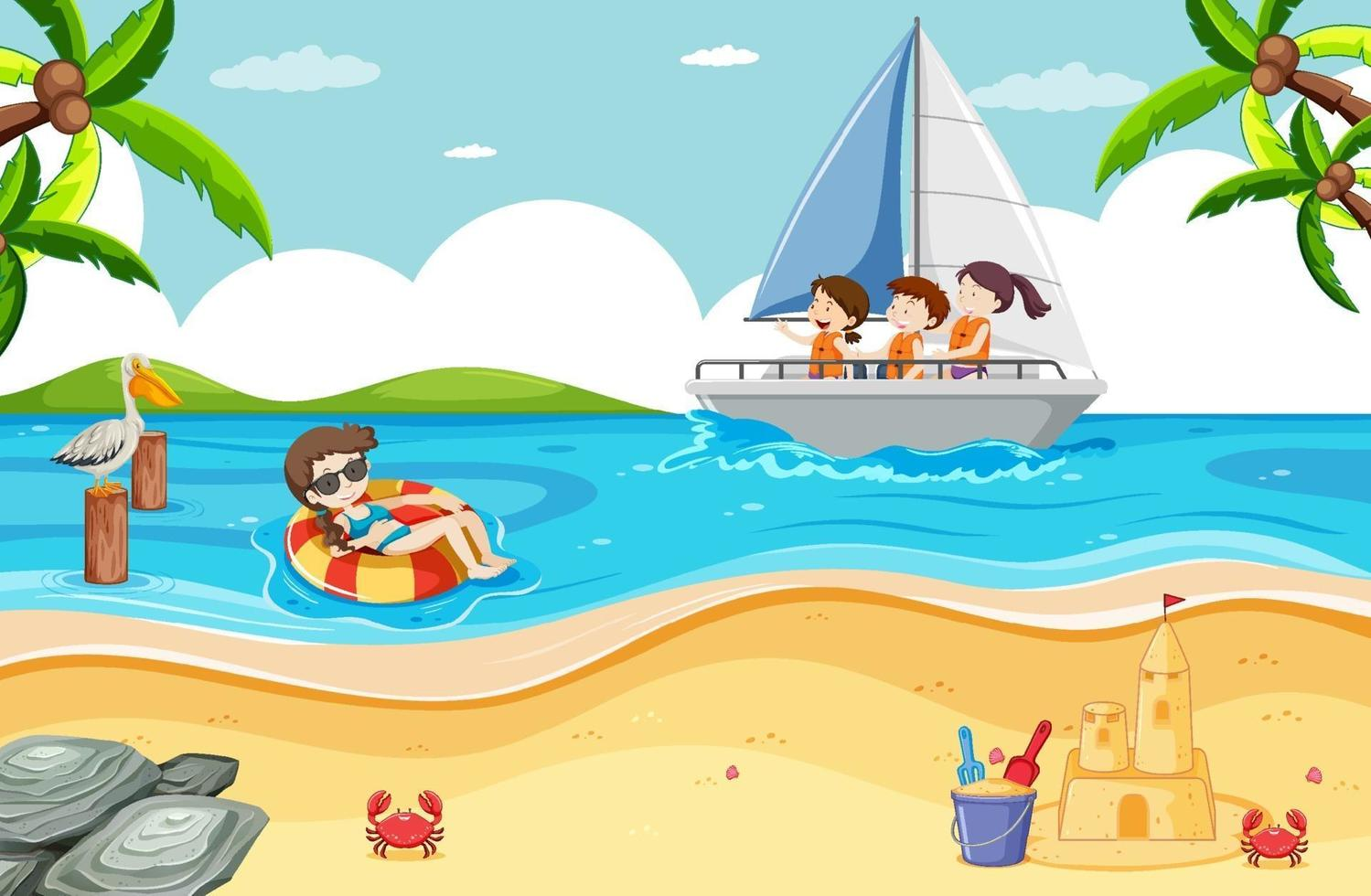 Escena de playa con niños en un velero. vector