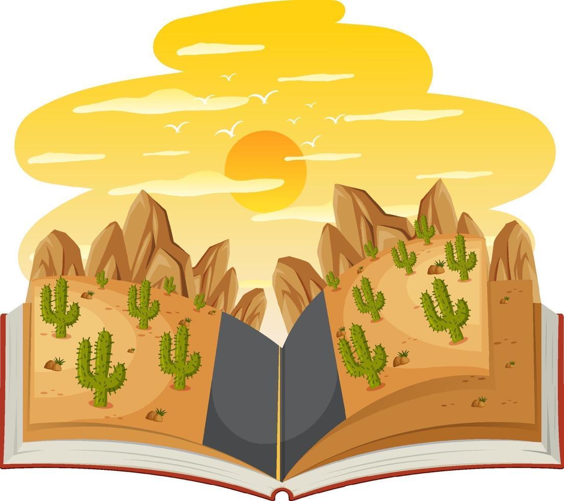 libro abierto con camino a través del desierto. vector