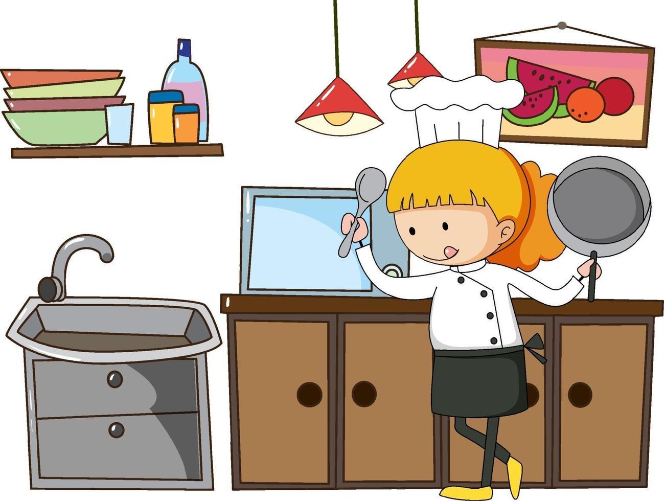 Pequeño chef con utensilios de cocina sobre fondo blanco. vector