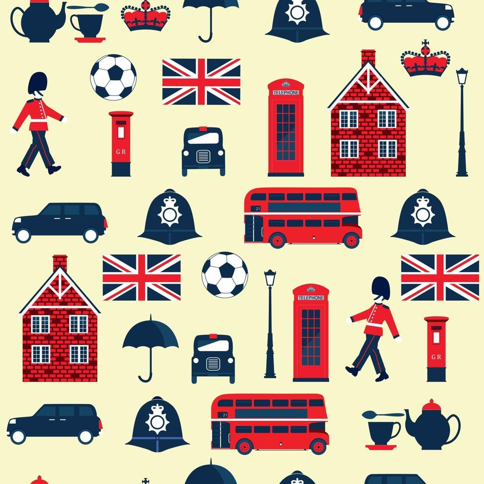 Seamless pattern with English symbols. Cottage, crown, telephone, bus. vector