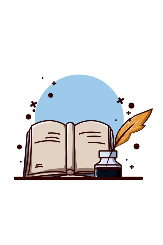 Illustration of a book with a dip pen vector