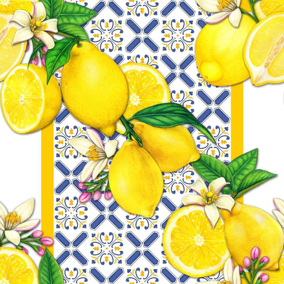 Mediterrraean lemon and tiles watercolor pattern vector