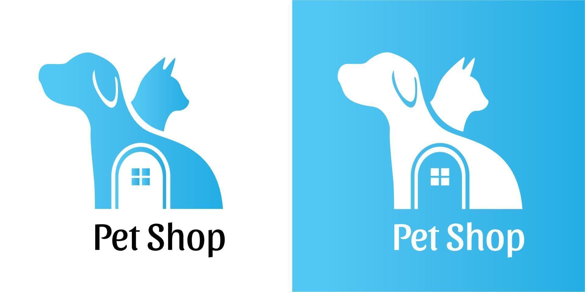 Pet Shop Simple Flat Negative Logo Dog and Cat Design Vector Illustration for business, company