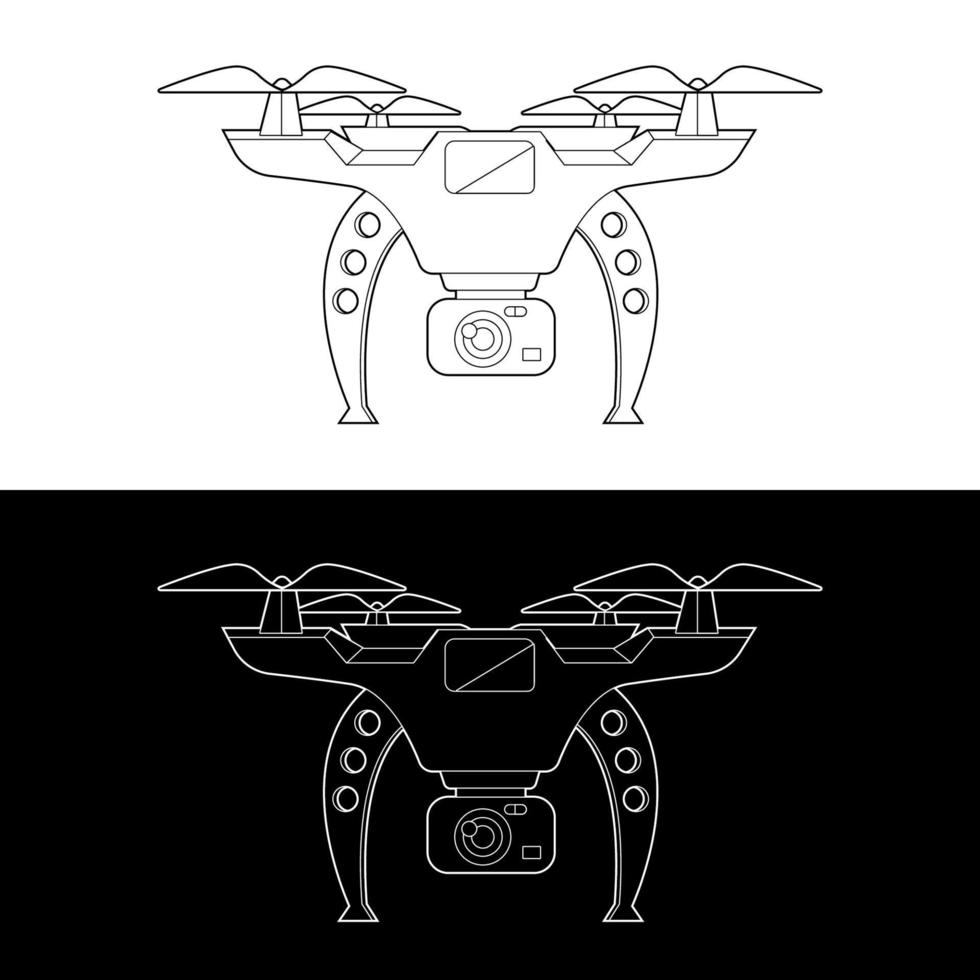 Drones Vector Icon Set, Black and White Outline