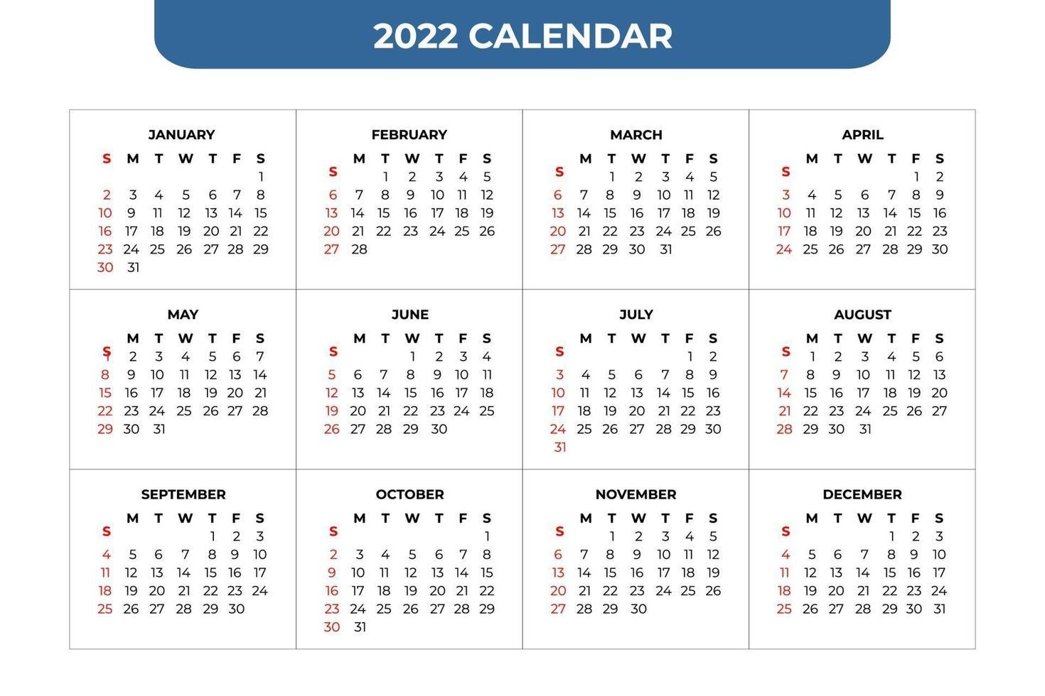 July 4 2022 Calendar.2022 Calendar Template 2159303 Vector Art At Vecteezy