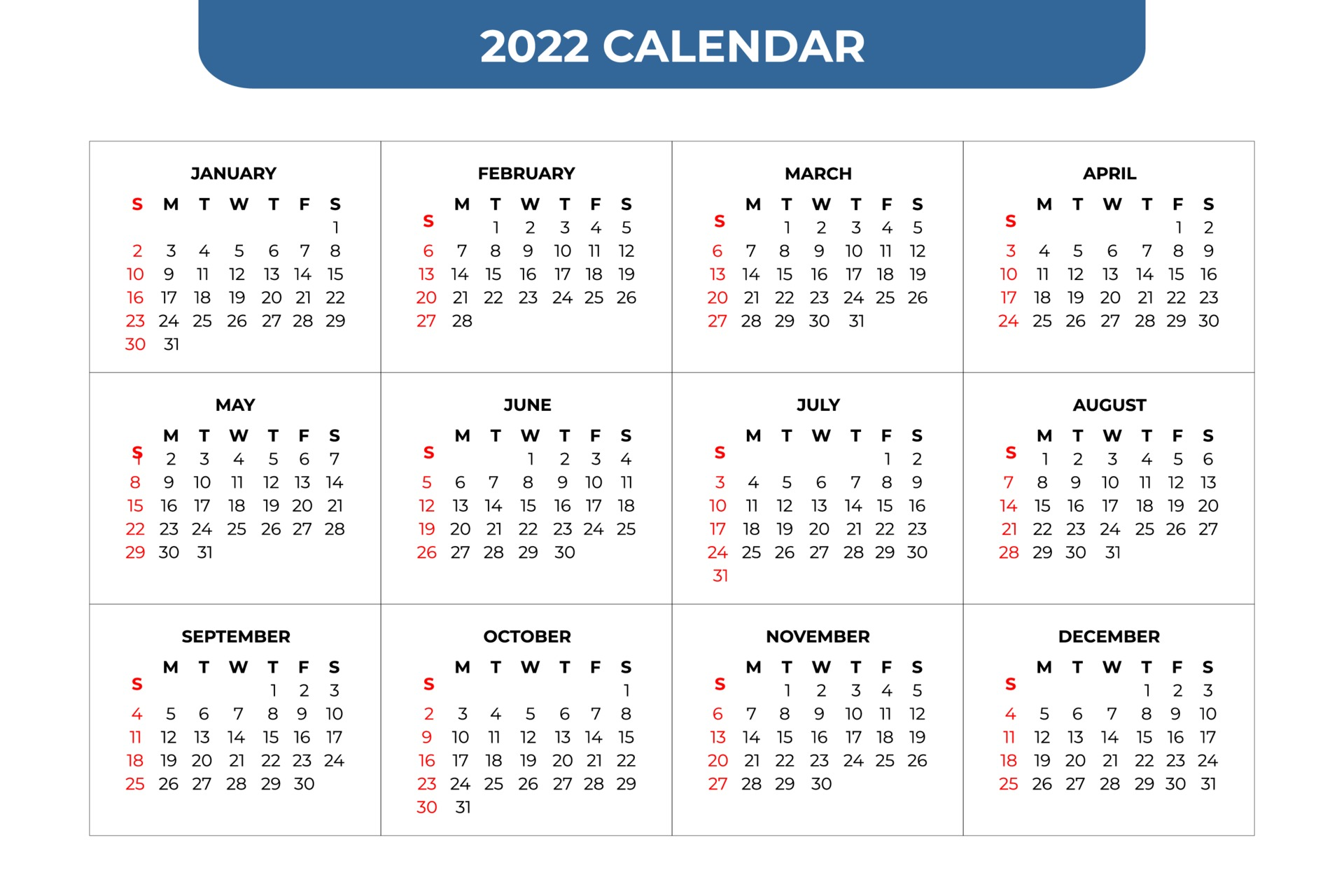 Calendar 2022 Template.2022 Calendar Template 2159303 Vector Art At Vecteezy