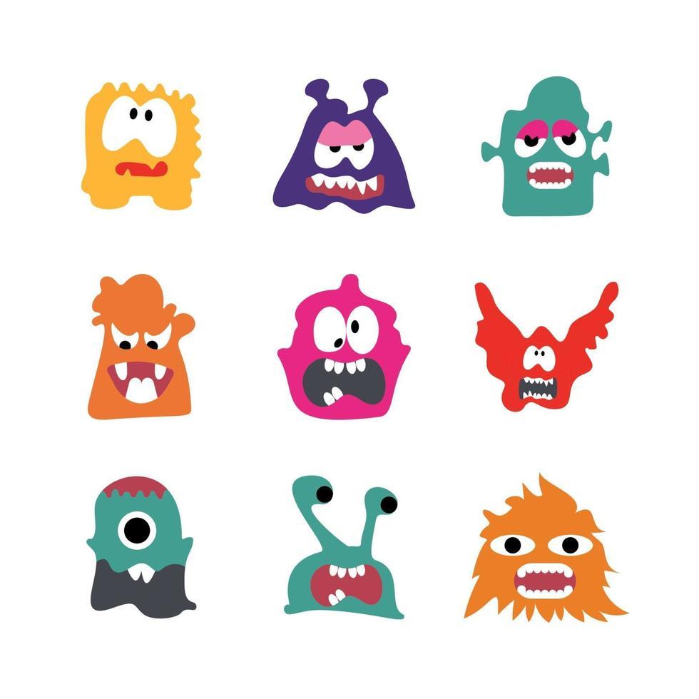 Monsters Cartoon Character set vector illustration