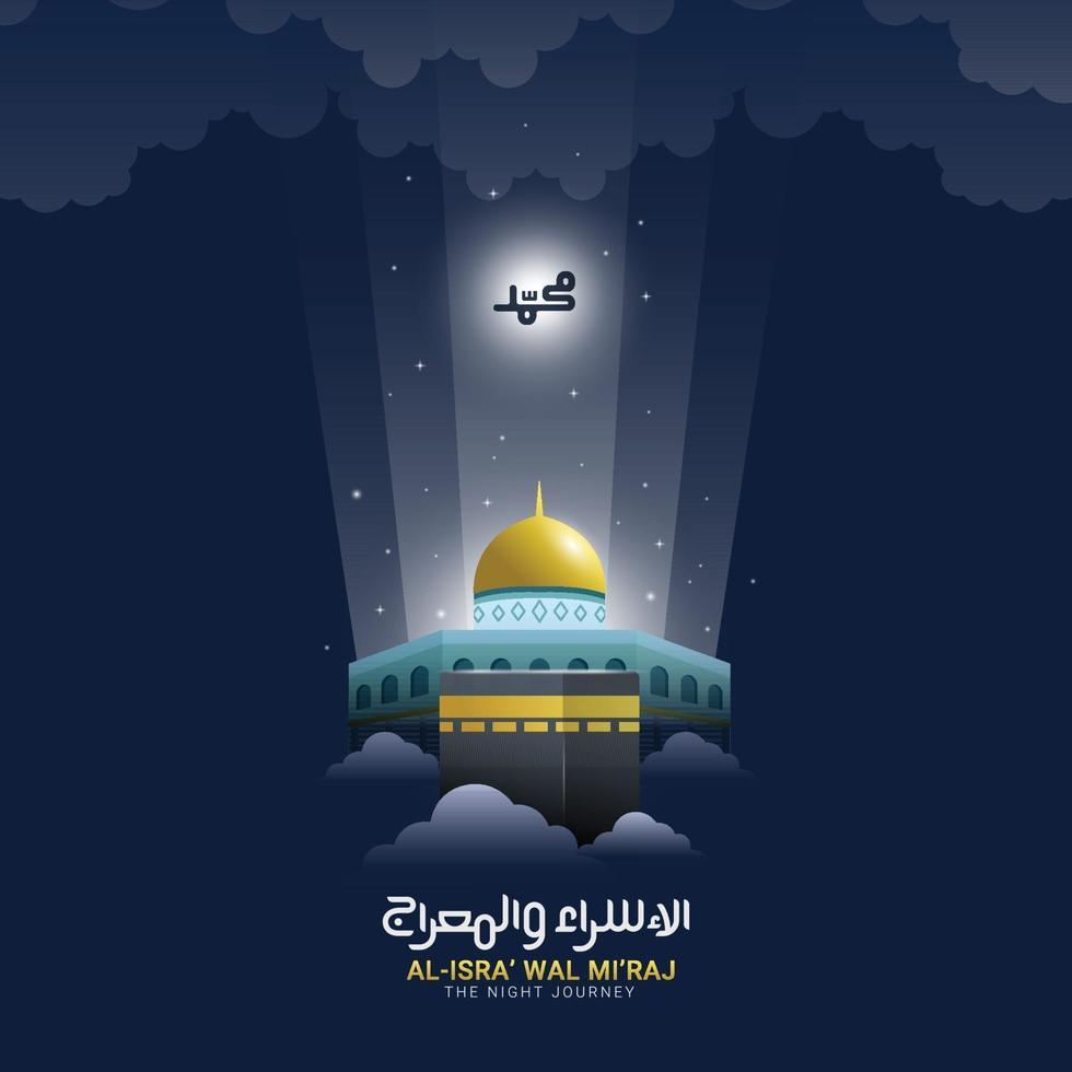 isra miraj profeta muhammad con caligrafía árabe vector
