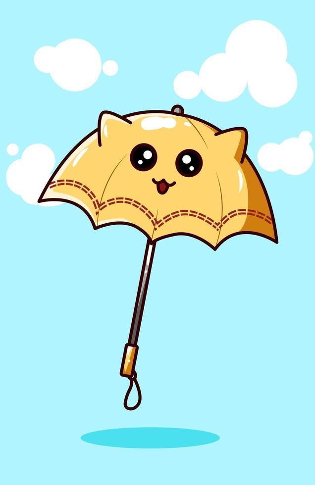 Kawaii yellow umbrella, cartoon illustration vector