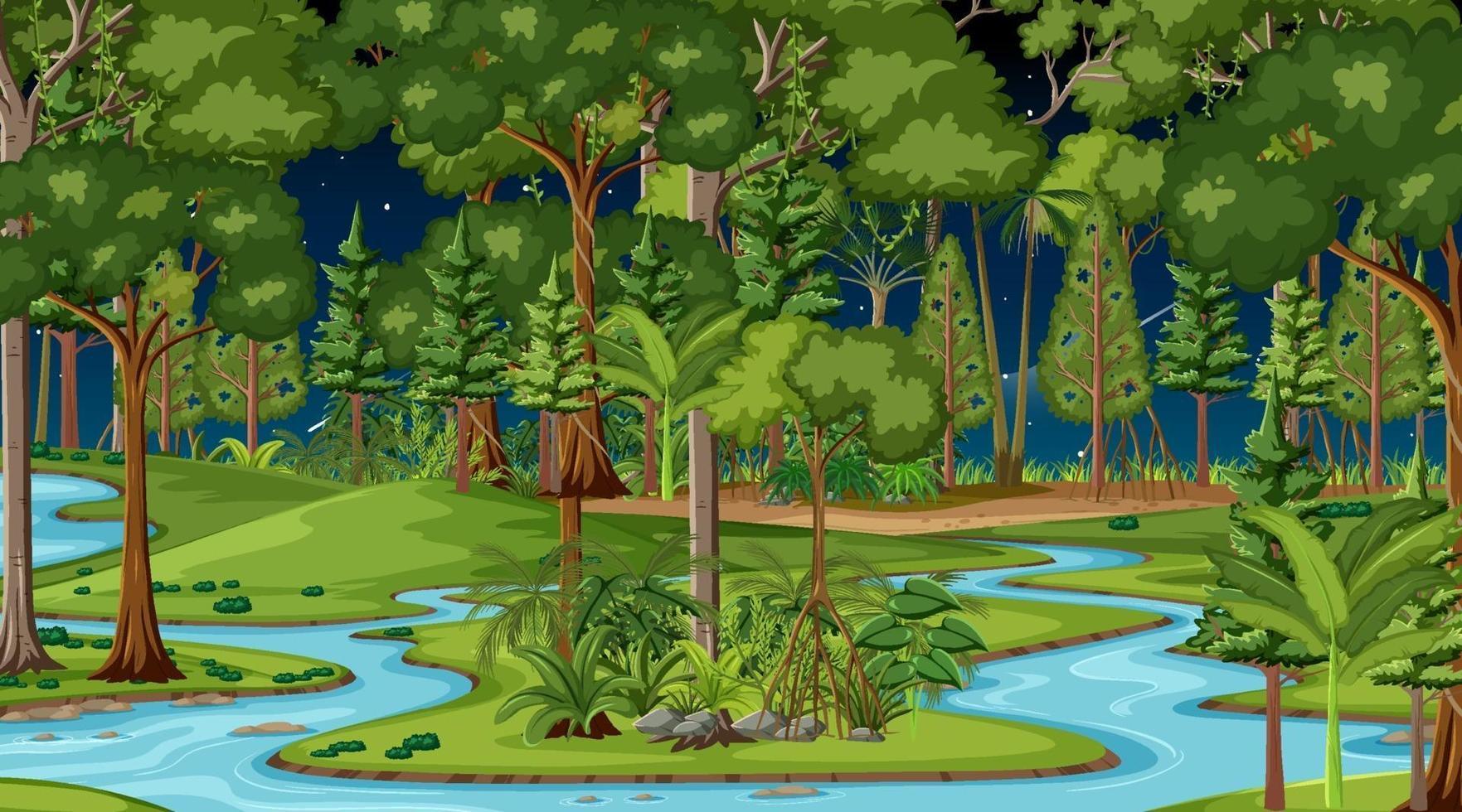 El río fluye a través de la escena del bosque por la noche. vector
