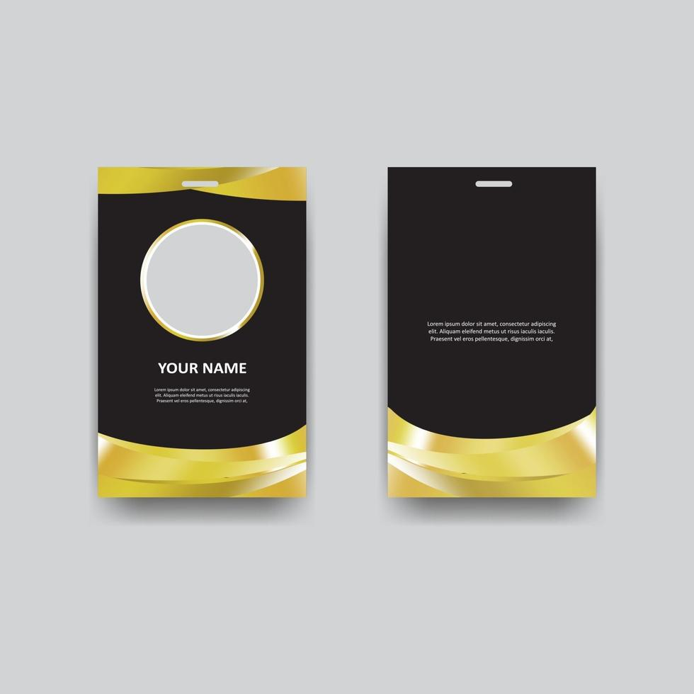 Elegant ID Card or Business Card Template in Black Gold vector