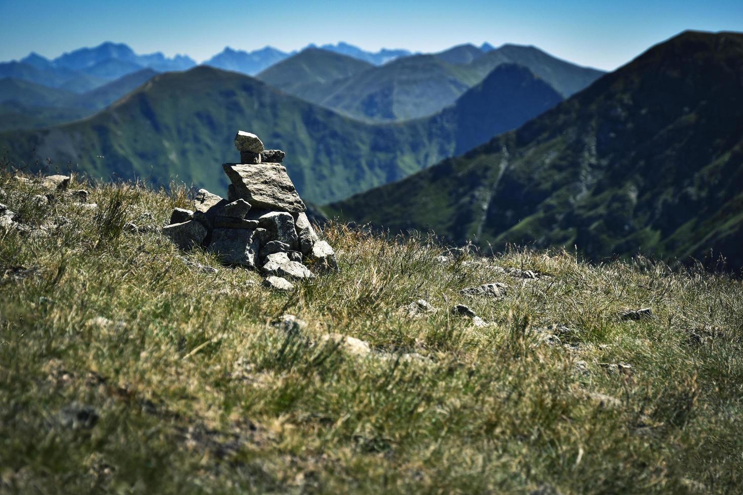 Stone stack on a mountain photo