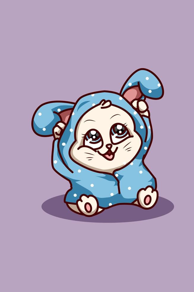 A small cat wearing blue rabbit jacket hoodie vector